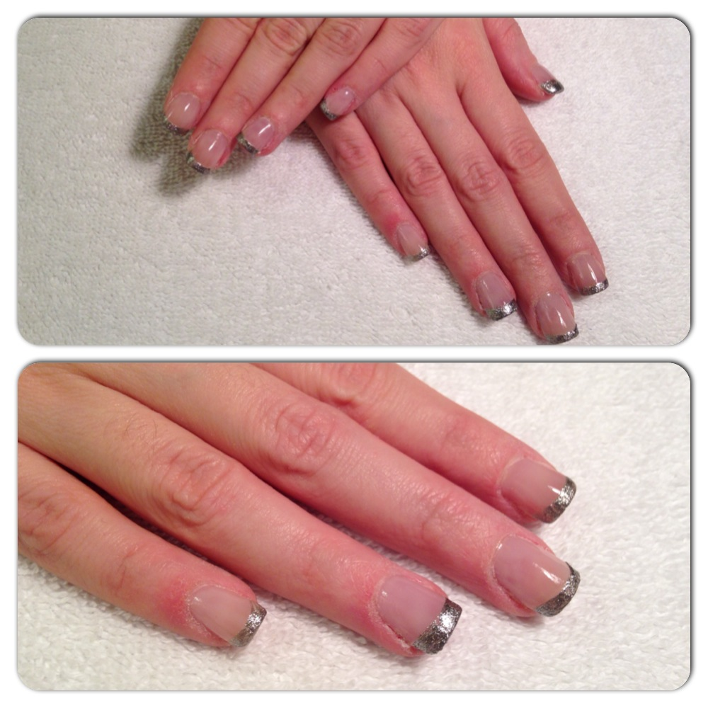 Acrylic Nails with Silver Shatter French